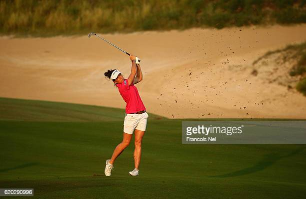 Joanna Klatten of France in action during the first round of the Fatima Bint Mubarak Ladies Open at Saadiyat Beach Golf Club on November 2 2016 in...