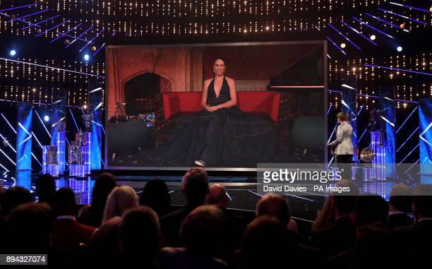Joanna Konta is interviewed by video link during the BBC Sports Personality of the Year 2017 at the Liverpool Echo Arena
