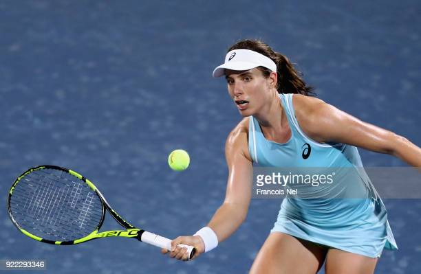 Joanna Konta of Great Britain plays a forehand against Daria Kasatkina of Russia during day three of the WTA Dubai Duty Free Tennis Championship at...