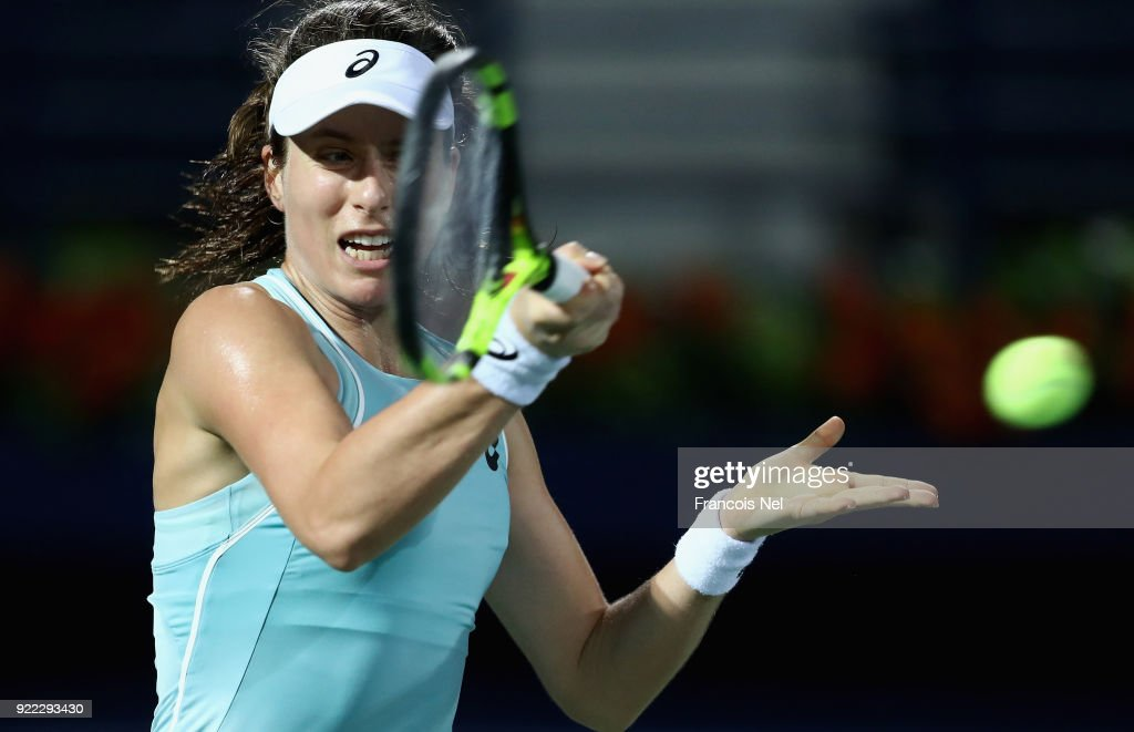 Joanna Konta of Great Britain plays a forehand against Daria Kasatkina of Russia during day three of the WTA Dubai Duty Free Tennis Championship at the Dubai Tennis Stadiumon February 21, 2018 in Dubai, United Arab Emirates.