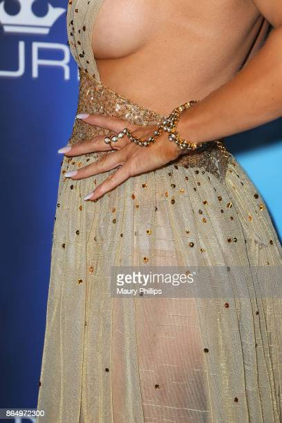 Joanna Krupa fashion detail arrives at the 2017 Maxim Halloween Party at Los Angeles Center Studios on October 21 2017 in Los Angeles California
