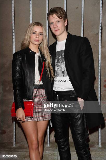 Joanna Kuchta and Patrick Gibson attend the Dsquared2 show during Milan Menswear Fashion Week Fall/Winter 2018/19 on January 14 2018 in Milan Italy