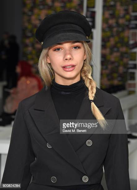 Joanna Kuchta attends the Nicopanda show during London Fashion Week February 2018 at TopShop Show Space on February 19, 2018 in London, England.