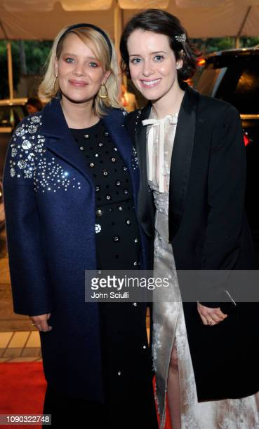 Joanna Kulig and Claire Foy arrive at the BAFTA LA Tea Party with Jaguar Land Rover at The Four Seasons Hotel Los Angeles at Beverly Hills on January...