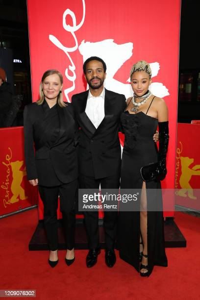 "Joanna Kulig, Andre Holland and Amandla Stenberg attend the Netflix premiere of ""The Eddy"" during the 70th Berlinale International Film Festival..."