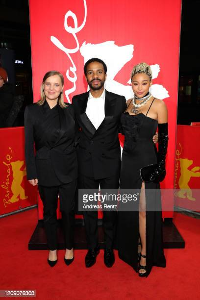 Joanna Kulig Andre Holland and Amandla Stenberg attend the Netflix premiere of The Eddy during the 70th Berlinale International Film Festival Berlin...