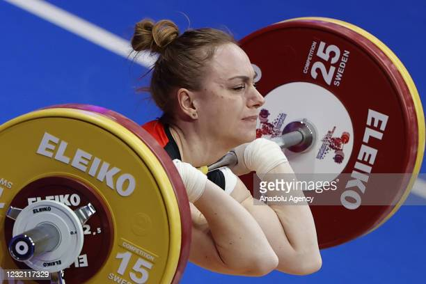 Joanna Lochowsa of Poland competes in the women's 55 kg final within the Weightlifting European Championships 2021 in Moscow, Russia on April 4, 2021.