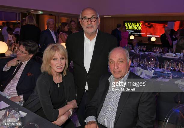 Joanna Lumley Alan Yentob and David Reuben attend a private view of Stanley Kubrick The Exhibition at The Design Museum on May 9 2019 in London...