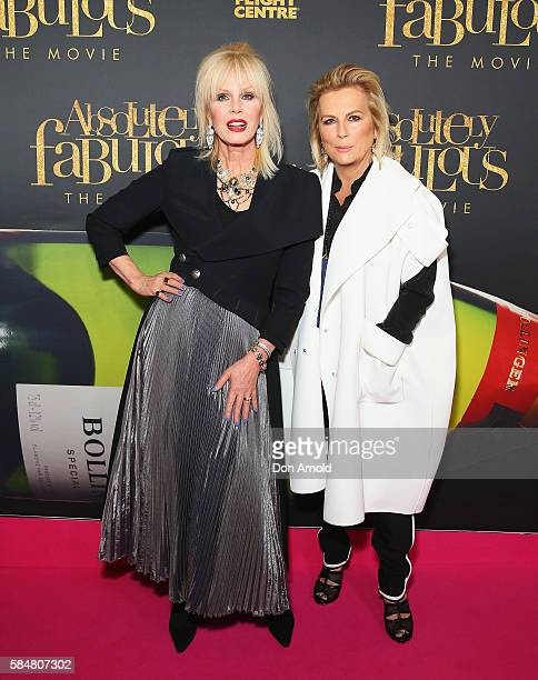 Joanna Lumley and Jennifer Saunders arrive ahead of the Absolutely Fabulous The Movie Australian premiere at State Theatre on July 31 2016 in Sydney...