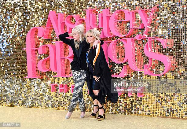 Joanna Lumley and Jennifer Saunders attend the 'Absolutely Fabulous The Movie' World Premiere at the Odeon Leicester Square on June 29 2016 in London...