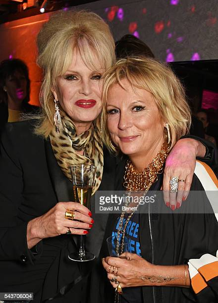 Joanna Lumley and Jennifer Saunders attend the World Premiere after party of 'Absolutely Fabulous The Movie' at Liberty on June 29 2016 in London...