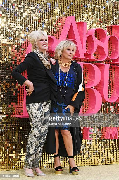 """Joanna Lumley and Jennifer Saunders attend the World Premiere of """"Absolutely Fabulous: The Movie"""" at Odeon Leicester Square on June 29, 2016 in..."""