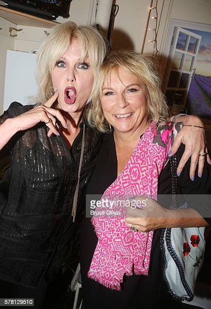 Joanna Lumley and Jennifer Saunders pose backstage at the hit musical based on the film 'The Color Purple' on Broadway at The Jacobs Theatre on July...