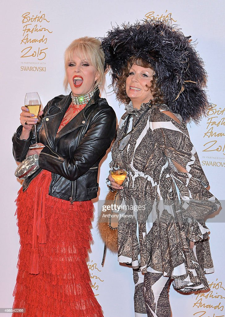 Joanna Lumley and Jennifer Saunders pose in the Winners Room at the British Fashion Awards 2015 at London Coliseum on November 23, 2015 in London, England.