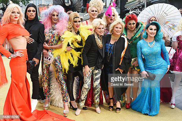 Joanna Lumley and Jennifer Saunders pose with guests at the World Premiere of 'Absolutely Fabulous The Movie' at Odeon Leicester Square on June 29...