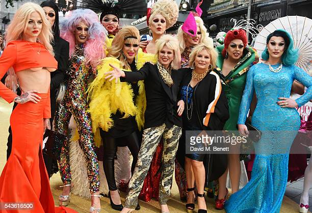 """Joanna Lumley and Jennifer Saunders pose with guests at the World Premiere of """"Absolutely Fabulous: The Movie"""" at Odeon Leicester Square on June 29,..."""