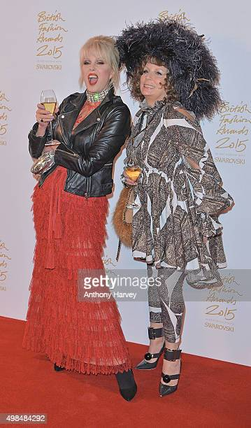 Joanna Lumley and Jennifer Saunders poses in the Winners Room at the British Fashion Awards 2015 at London Coliseum on November 23 2015 in London...