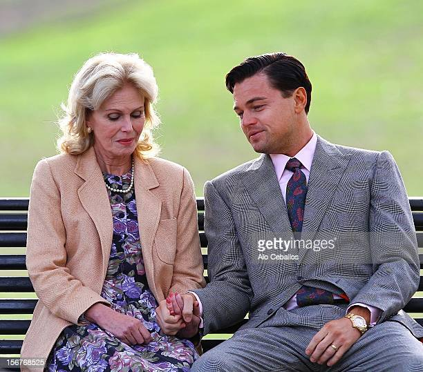 Joanna Lumley and Leonardo DiCaprio are seen on the set of The Wolf of Wall Street on November 20 2012 in New York City