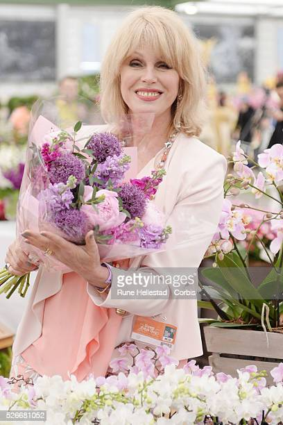 Joanna Lumley attends the Chelsea Flower Show at the Royal Hospital Grounds.