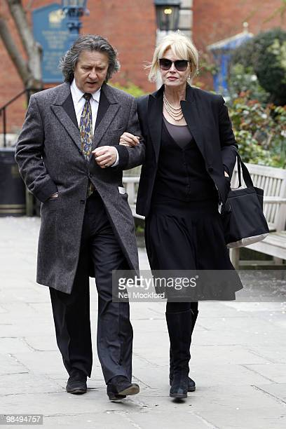Joanna Lumley attends the funeral of Christopher Cazenove at St Paul's Church Actor's Church Covent Garden on April 16 2010 in London England