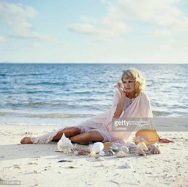 Joanna Lumley British actress on the beach on Mauritius 1st September 1978