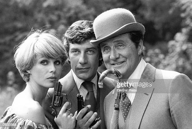 Joanna Lumley, Gareth Hunt and Patrick MacNee pose for publicity photos for the TV series 'The New Avengers'.