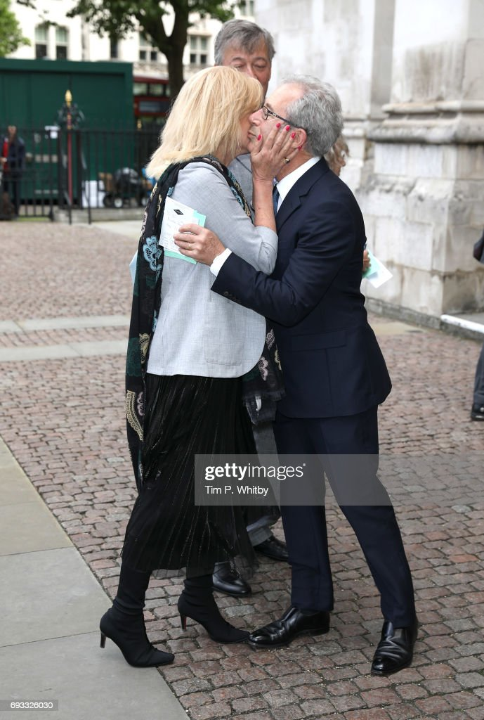 Joanna Lumley greets Ben Elton at a memorial service for comedian Ronnie Corbett at Westminster Abbey on June 7, 2017 in London, England. Corbett died in March 2016 at the age of 85.