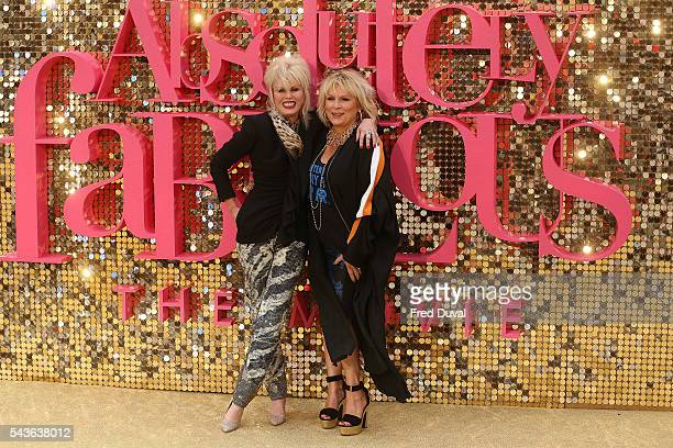 Joanna Lumley in character as Patsy Stone and Jennifer Saunders in character as Edina Monsoon attend the World premiere of Absolutely Fabulous at...