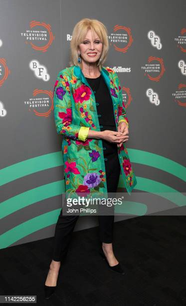 Joanna Lumley is inducted into the Radio Times Hall of Fame during the BFI Radio Times Television Festival 2019 at BFI Southbank on April 12 2019 in...