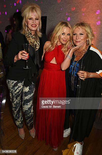 Joanna Lumley Kylie Minogue and Jennifer Saunders attend the World Premiere after party of 'Absolutely Fabulous The Movie' at Liberty on June 29 2016...
