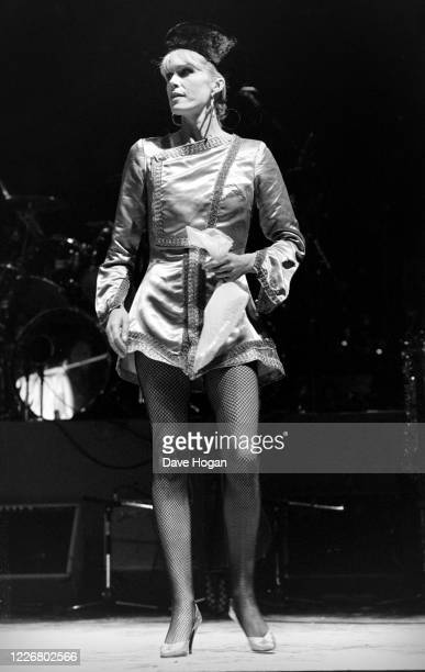 Joanna Lumley on stage during a drugs benefit concert at the Dominion Theatre, 6th January 1986