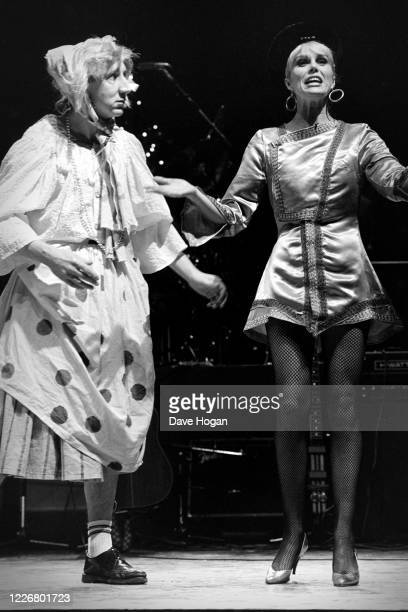 Joanna Lumley on stage with British musician Pete Townshend of the Who dressed in drag for a drugs benefit concert at the Dominion Theatre, 6th...