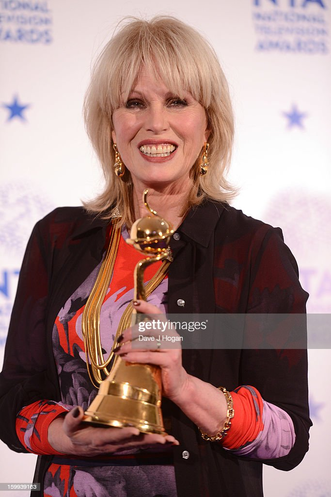 Joanna Lumley poses with her Special Recognition Award in front of the winners boards at the National Television Awards 2013 at The O2 Arena on January 23, 2013 in London, England.