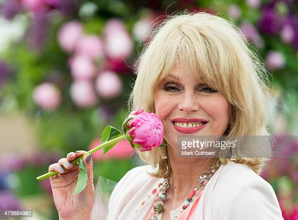 Joanna Lumley visiting the annual Chelsea Flower show at Royal Hospital Chelsea on May 18 2015 in London England
