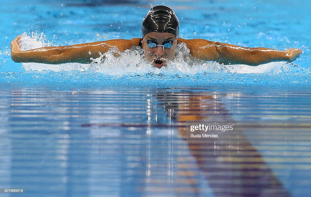 Joanna Maranhao of Brazil swims the Women's 200m Medley final during the Maria Lenk Trophy competition at the Aquece Rio Test Event for the Rio 2016 Olympics at the Olympic Park on April 17, 2016 in Rio de Janeiro, Brazil.