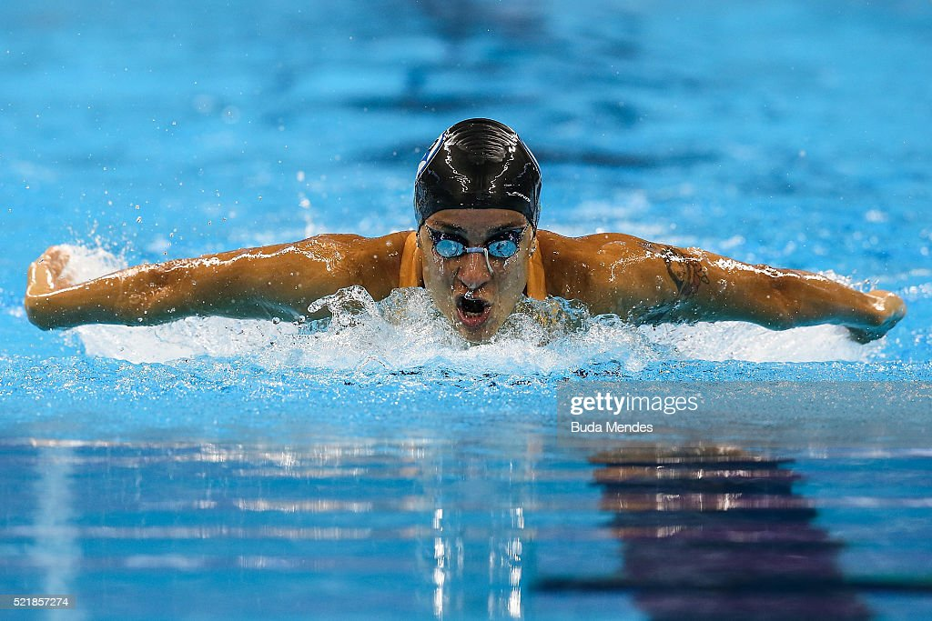 Joanna Maranhao of Brazil swims the Women's 200m Medley heats during the Maria Lenk Trophy competition at the Aquece Rio Test Event for the Rio 2016 Olympics at the Olympic Park on April 17, 2016 in Rio de Janeiro, Brazil.