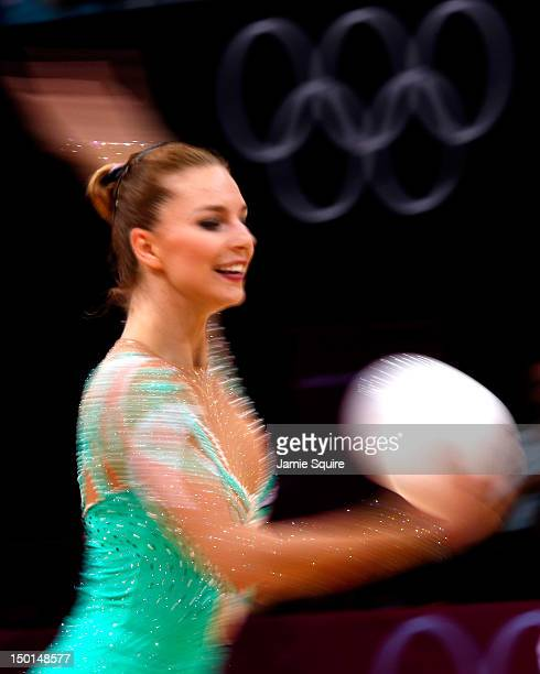 Joanna Mitrosz of Poland competes during the Individual All-Around Rhythmic Gymnastics final on Day 15 of the London 2012 Olympics Games at Wembley...