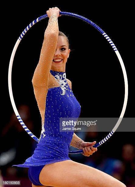 Joanna Mitrosz of Poland competes in the Individual All-Around Rhythmic Gymnastics final on Day 15 of the London 2012 Olympics Games at Wembley Arena...
