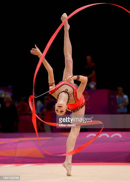 Joanna Mitrosz of Poland competes with the ribbon during the Individual AllAround Rhythmic Gymnastics final on Day 15 of the London 2012 Olympics...
