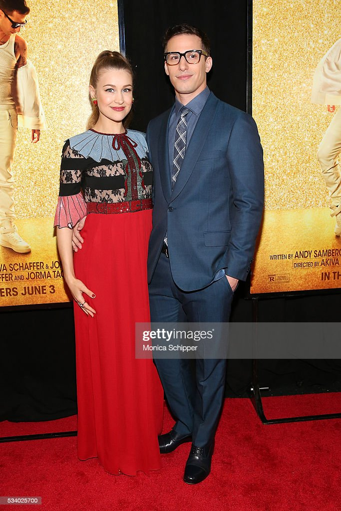 Joanna Newsom (L) and Andy Samberg attend 'Popstar: Never Stop Never Stopping' New York Premiere at AMC Loews Lincoln Square 13 theater on May 24, 2016 in New York City.