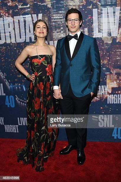 Joanna Newsom and Andy Samberg attend SNL 40th Anniversary Celebration at Rockefeller Plaza on February 15 2015 in New York City