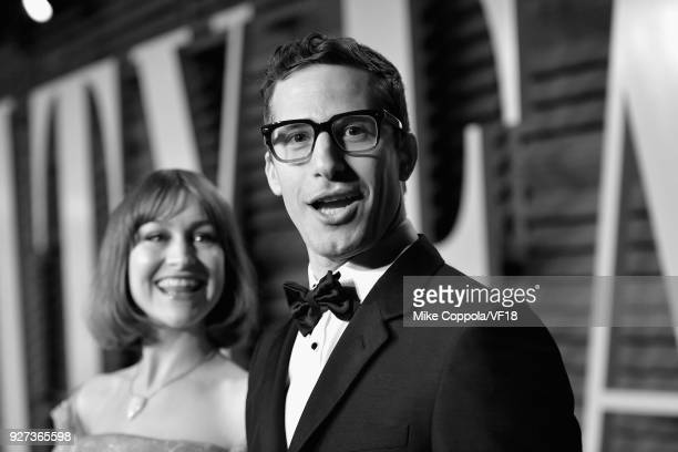 Joanna Newsom and Andy Samberg attend the 2018 Vanity Fair Oscar Party hosted by Radhika Jones at Wallis Annenberg Center for the Performing Arts on...