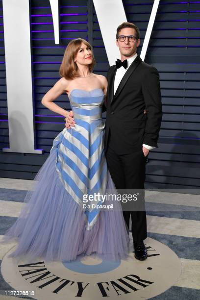 Joanna Newsom and Andy Samberg attend the 2019 Vanity Fair Oscar Party hosted by Radhika Jones at Wallis Annenberg Center for the Performing Arts on...