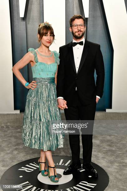Joanna Newsom and Andy Samberg attend the 2020 Vanity Fair Oscar Party hosted by Radhika Jones at Wallis Annenberg Center for the Performing Arts on...