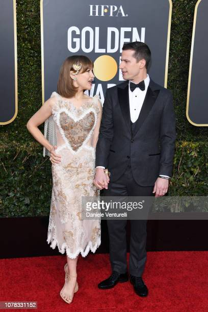 Joanna Newsom and Andy Samberg attend the 76th Annual Golden Globe Awards at The Beverly Hilton Hotel on January 6, 2019 in Beverly Hills, California.