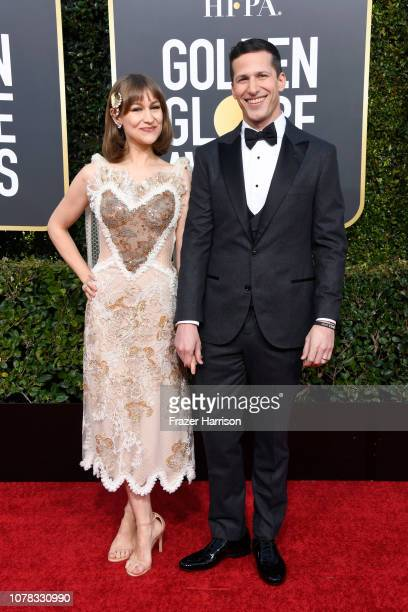 Joanna Newsom and host Andy Samberg attend the 76th Annual Golden Globe Awards at The Beverly Hilton Hotel on January 6 2019 in Beverly Hills...