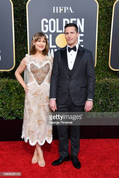 Joanna Newsom and host Andy Samberg attend the 76th Annual Golden Globe Awards held at The Beverly Hilton Hotel on January 06 2019 in Beverly Hills...
