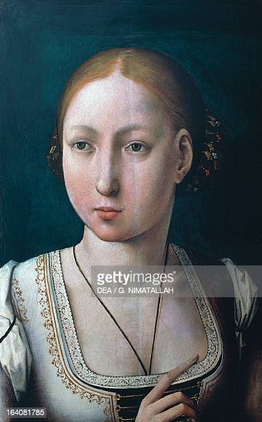 Joanna of Aragon Queen of Naples known as The Mad wife of Philip I of Castile known as Philip the Fair Archduke of Austria Painting by Juan de...