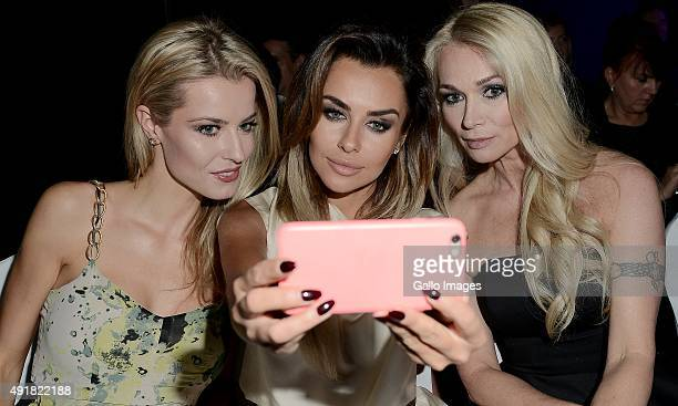 Joanna Pacula Natalia Siwiec and Anna Tarnowska take a selfie at the finale of the Miss World Poland pageant on October 5 2015 in Endorfina Club in...