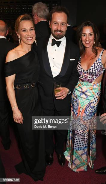 Joanna Riding Alfie Boe and Sarah Boe pose in the winners room at The Olivier Awards 2017 at Royal Albert Hall on April 9 2017 in London England